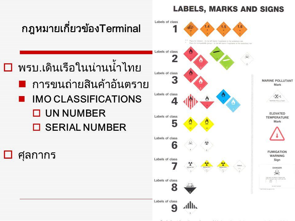 กฎหมายเกี่ยวข้องTerminal  พรบ. เดินเรือในน่านน้ำไทย การขนถ่ายสินค้าอันตราย IMO CLASSIFICATIONS  UN NUMBER  SERIAL NUMBER  ศุลกากร