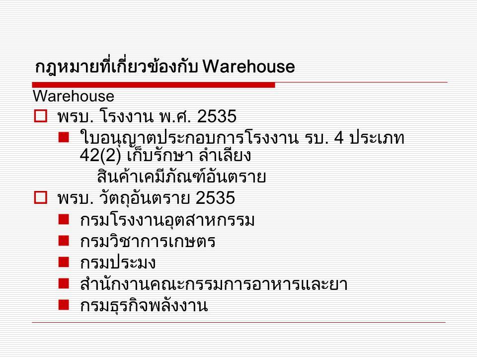 Warehouse  พรบ. โรงงาน พ.ศ. 2535 ใบอนุญาตประกอบการโรงงาน รบ. 4 ประเภท 42(2) เก็บรักษา ลำเลียง สินค้าเคมีภัณฑ์อันตราย  พรบ. วัตถุอันตราย 2535 กรมโรงง