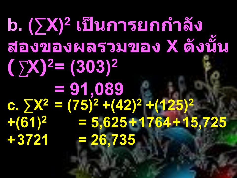 b. (∑X) 2 เป็นการยกกำลัง สองของผลรวมของ X ดังนั้น ( ∑ X) 2 = (303) 2 = 91,089 c. ∑X 2 = (75) 2 +(42) 2 +(125) 2 +(61) 2 = 5,625 + 1764 + 15,725 + 3721