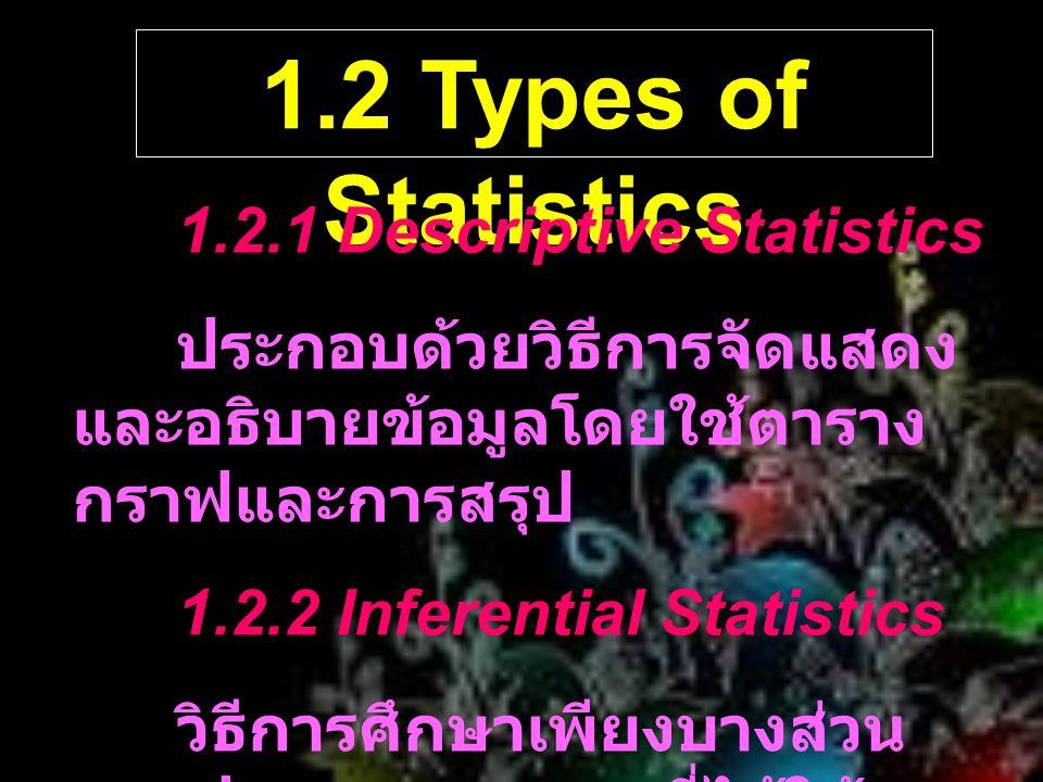 1.2 Types of Statistics 1.2.1 Descriptive Statistics ประกอบด้วยวิธีการจัดแสดง และอธิบายข้อมูลโดยใช้ตาราง กราฟและการสรุป 1.2.2 Inferential Statistics ว
