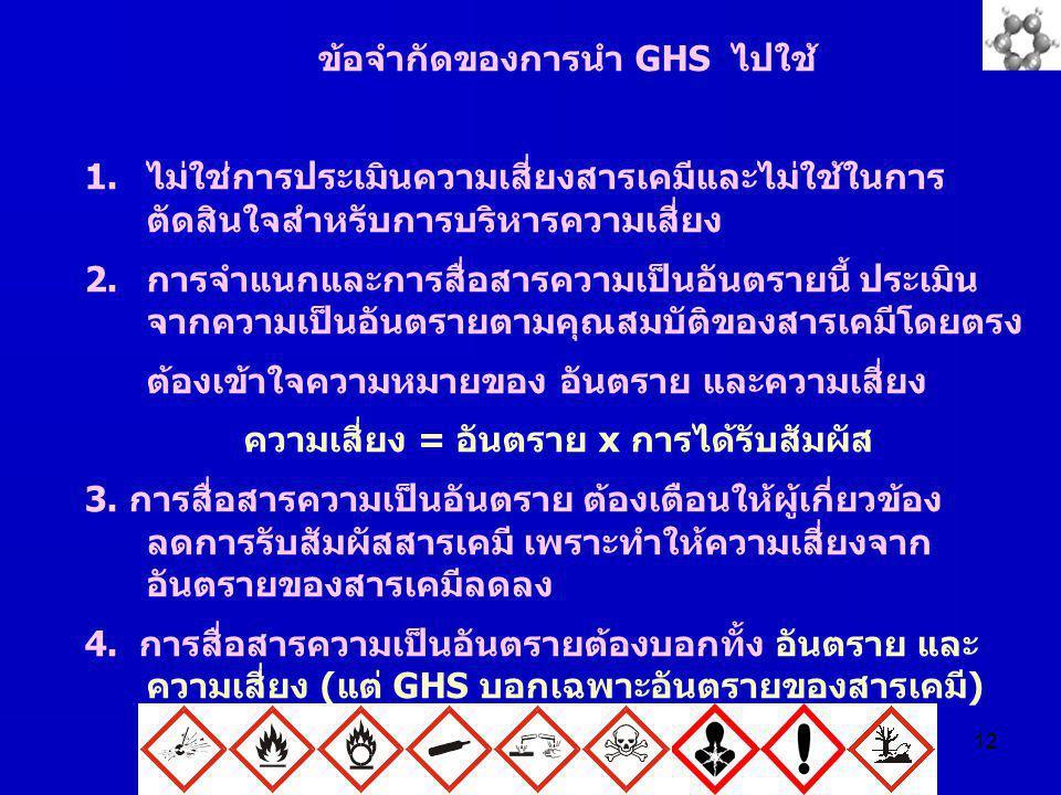 12 ข้อจำกัดของการนำ GHS ไปใช้ 1.ไม่ใช่การประเมินความเสี่ยงสารเคมีและไม่ใช้ในการ ตัดสินใจสำหรับการบริหารความเสี่ยง 2.การจำแนกและการสื่อสารความเป็นอันตร