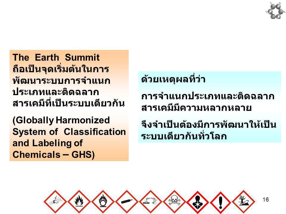 16 The Earth Summit ถือเป็นจุดเริ่มต้นในการ พัฒนาระบบการจำแนก ประเภทและติดฉลาก สารเคมีที่เป็นระบบเดียวกัน (Globally Harmonized System of Classificatio