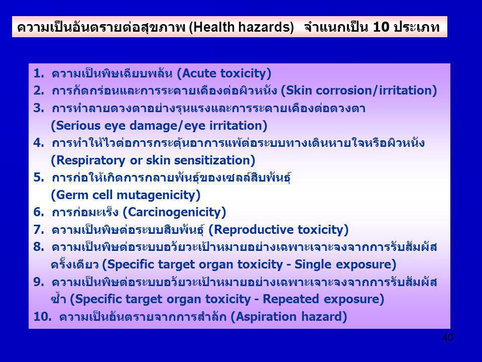 40 1. ความเป็นพิษเฉียบพลัน (Acute toxicity) 2. การกัดกร่อนและการระคายเคืองต่อผิวหนัง (Skin corrosion/irritation) 3. การทำลายดวงตาอย่างรุนแรงและการระคา