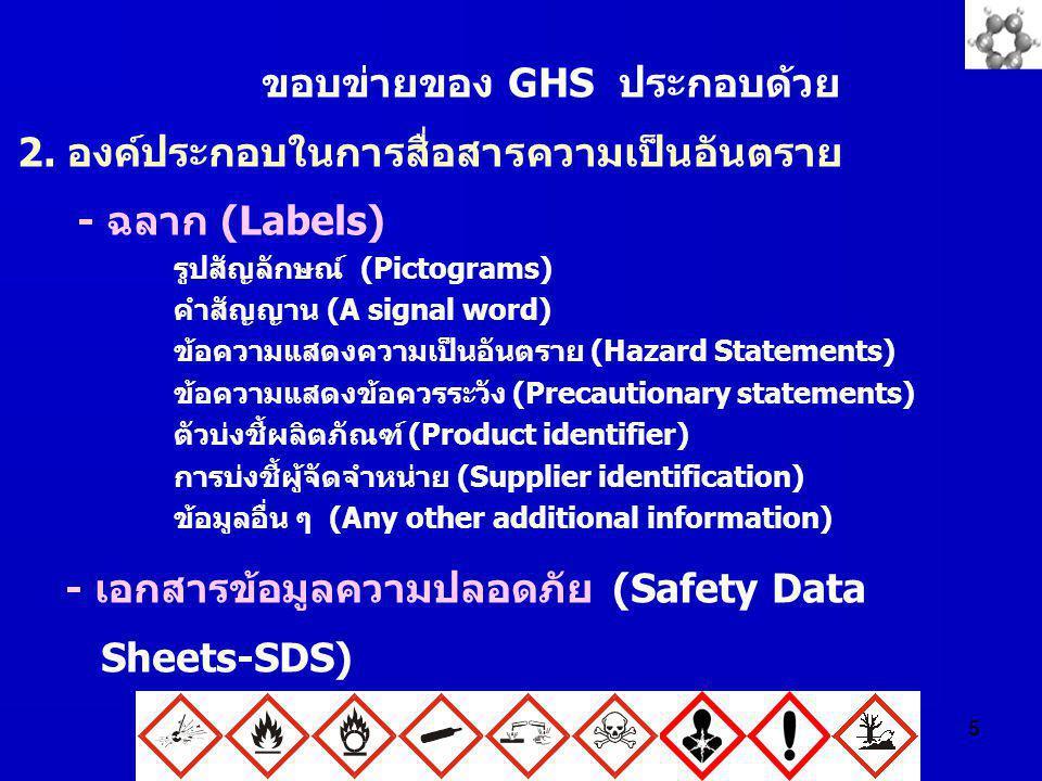 5 ขอบข่ายของ GHS ประกอบด้วย 2. องค์ประกอบในการสื่อสารความเป็นอันตราย - ฉลาก (Labels) รูปสัญลักษณ์ (Pictograms) คำสัญญาน (A signal word) ข้อความแสดงควา