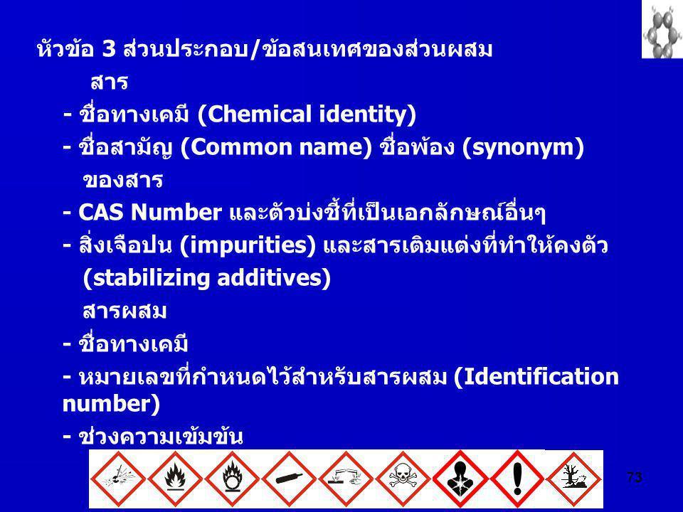 73 หัวข้อ 3 ส่วนประกอบ/ข้อสนเทศของส่วนผสม สาร - ชื่อทางเคมี (Chemical identity) - ชื่อสามัญ (Common name) ชื่อพ้อง (synonym) ของสาร - CAS Number และตั