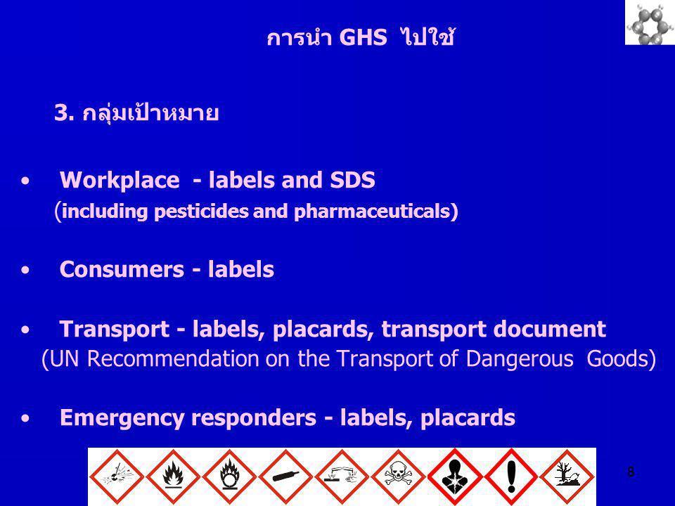 8 การนำ GHS ไปใช้ 3. กลุ่มเป้าหมาย Workplace - labels and SDS ( including pesticides and pharmaceuticals) Consumers - labels Transport - labels, placa