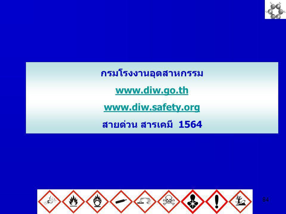 84 กรมโรงงานอุตสาหกรรม www.diw.go.th www.diw.safety.org สายด่วน สารเคมี 1564