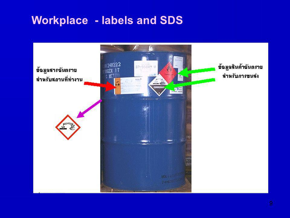 9 Workplace - labels and SDS