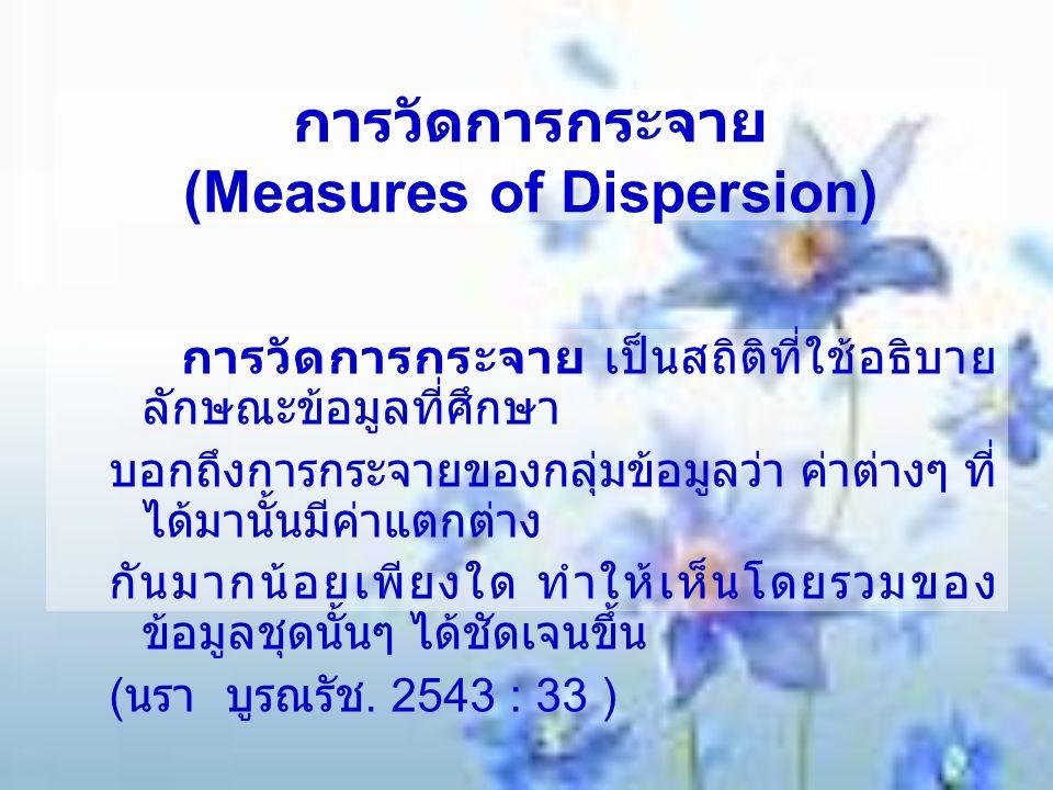 การวัดการกระจาย (Measures of Dispersion) การวัดการกระจาย เป็นสถิติที่ใช้อธิบาย ลักษณะข้อมูลที่ศึกษา บอกถึงการกระจายของกลุ่มข้อมูลว่า ค่าต่างๆ ที่ ได้ม