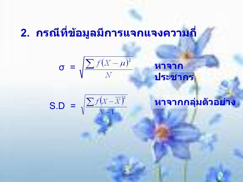 2. กรณีที่ข้อมูลมีการแจกแจงความถี่ σ = S.D = หาจาก ประชากร หาจากกลุ่มตัวอย่าง
