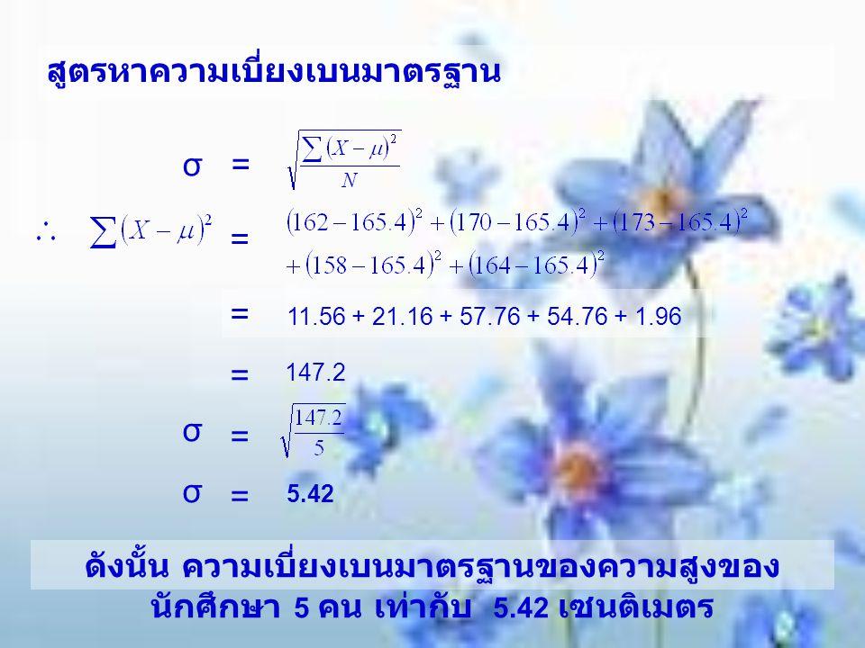 สูตรหาความเบี่ยงเบนมาตรฐาน σ = = = 11.56 + 21.16 + 57.76 + 54.76 + 1.96 = σ = σ = 5.42 ดังนั้น ความเบี่ยงเบนมาตรฐานของความสูงของ นักศึกษา 5 คน เท่ากับ