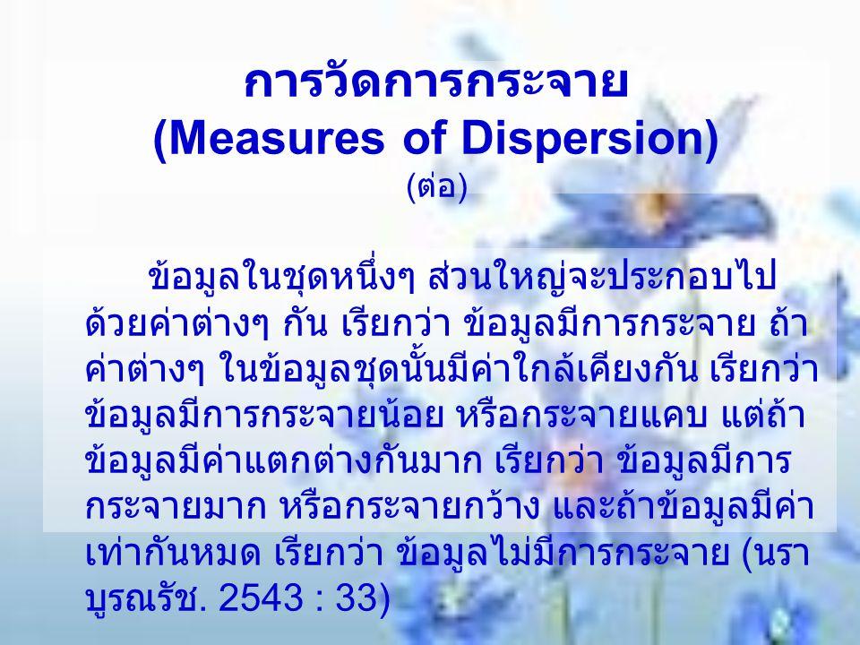 การวัดการกระจาย (Measures of Dispersion) ( ต่อ ) ข้อมูลในชุดหนึ่งๆ ส่วนใหญ่จะประกอบไป ด้วยค่าต่างๆ กัน เรียกว่า ข้อมูลมีการกระจาย ถ้า ค่าต่างๆ ในข้อมู