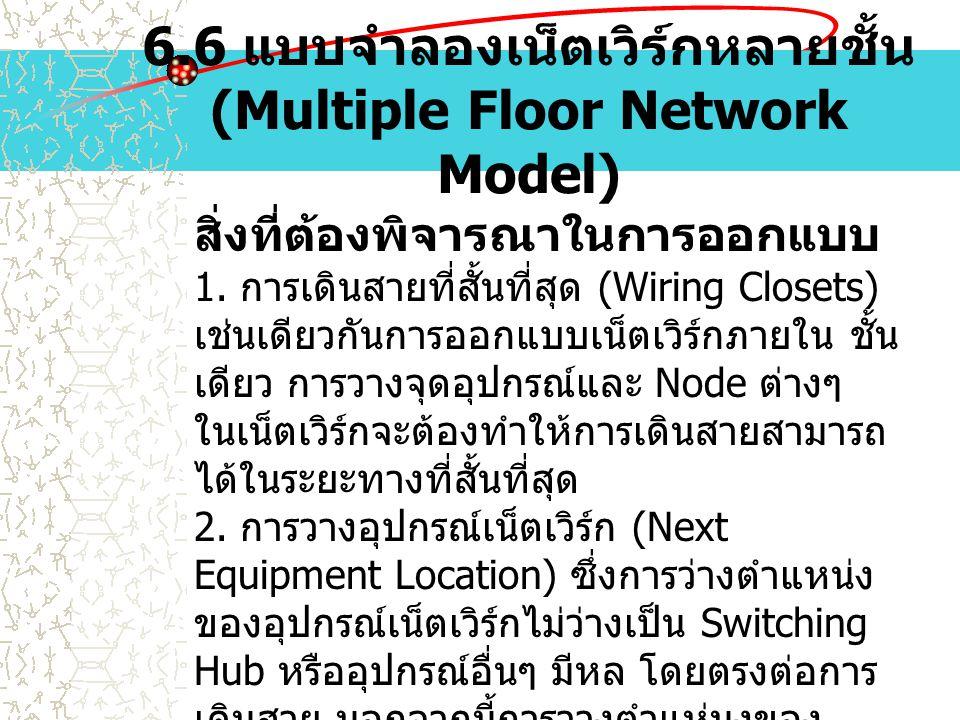 6.6 แบบจำลองเน็ตเวิร์กหลายชั้น (Multiple Floor Network Model) สิ่งที่ต้องพิจารณาในการออกแบบ 1. การเดินสายที่สั้นที่สุด (Wiring Closets) เช่นเดียวกันกา