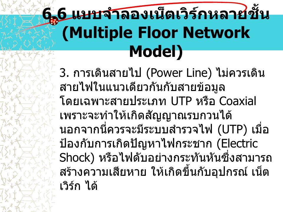 6.6 แบบจำลองเน็ตเวิร์กหลายชั้น (Multiple Floor Network Model) 3. การเดินสายไป (Power Line) ไม่ควรเดิน สายไฟในแนวเดียวกันกับสายข้อมูล โดยเฉพาะสายประเภท