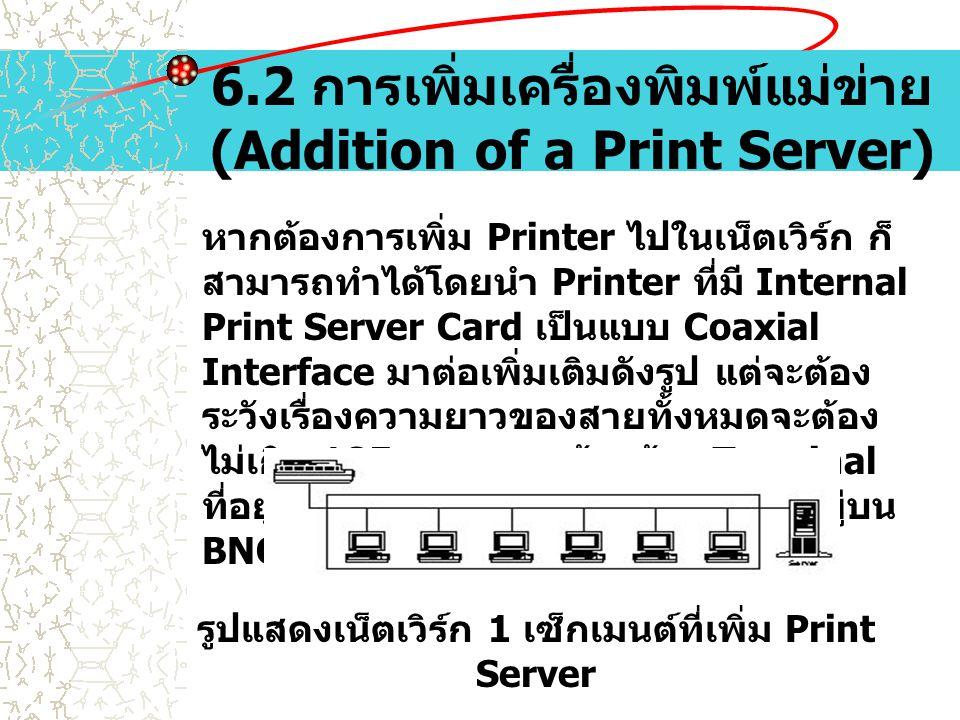 6.2 การเพิ่มเครื่องพิมพ์แม่ข่าย (Addition of a Print Server) หากต้องการเพิ่ม Printer ไปในเน็ตเวิร์ก ก็ สามารถทำได้โดยนำ Printer ที่มี Internal Print S