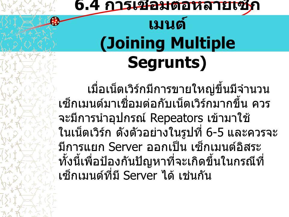 6.4 การเชื่อมต่อหลายเซ็ก เมนต์ (Joining Multiple Segrunts) เมื่อเน็ตเวิร์กมีการขายใหญ่ขึ้นมีจำนวน เซ็กเมนต์มาเชื่อมต่อกับเน็ตเวิร์กมากขึ้น ควร จะมีการ