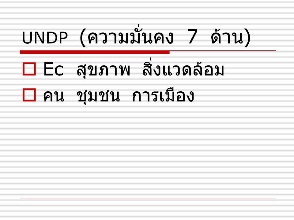 UNDP ( ความมั่นคง 7 ด้าน )  Ec สุขภาพ สิ่งแวดล้อม  คน ชุมชน การเมือง