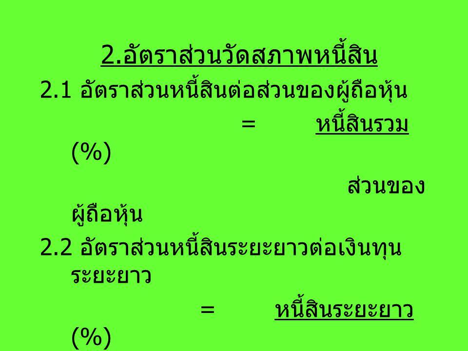 2. อัตราส่วนวัดสภาพหนี้สิน 2.1 อัตราส่วนหนี้สินต่อส่วนของผู้ถือหุ้น = หนี้สินรวม (%) ส่วนของ ผู้ถือหุ้น 2.2 อัตราส่วนหนี้สินระยะยาวต่อเงินทุน ระยะยาว