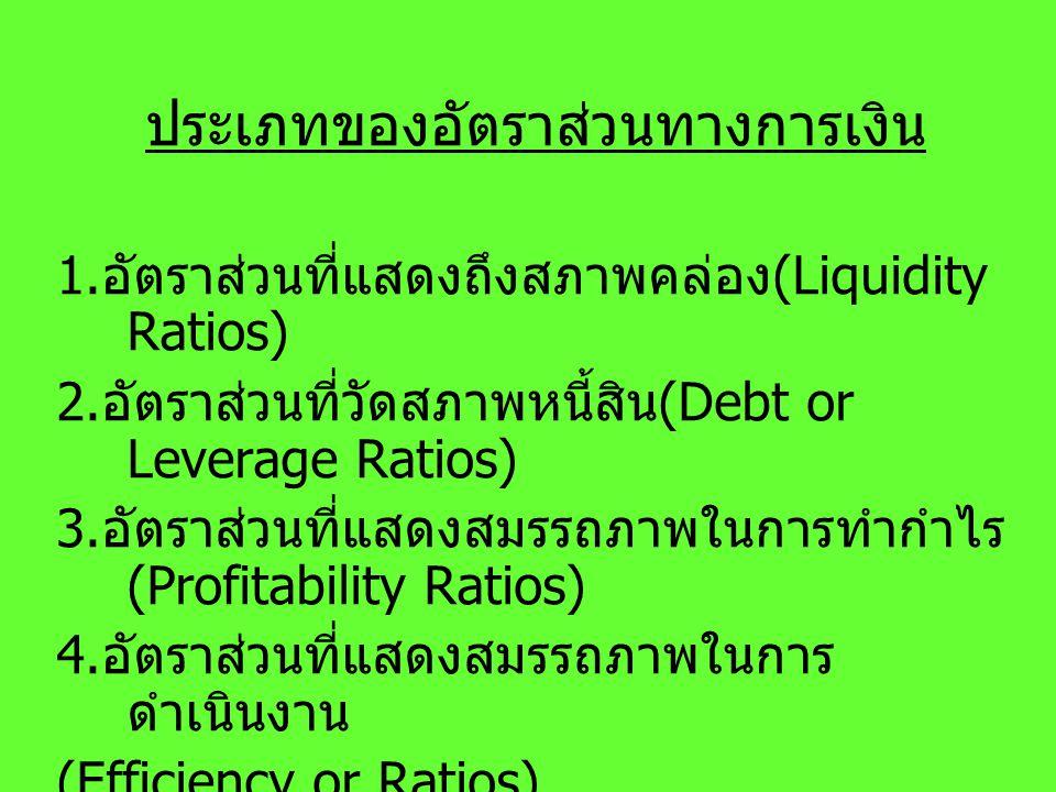 ประเภทของอัตราส่วนทางการเงิน 1. อัตราส่วนที่แสดงถึงสภาพคล่อง (Liquidity Ratios) 2. อัตราส่วนที่วัดสภาพหนี้สิน (Debt or Leverage Ratios) 3. อัตราส่วนที