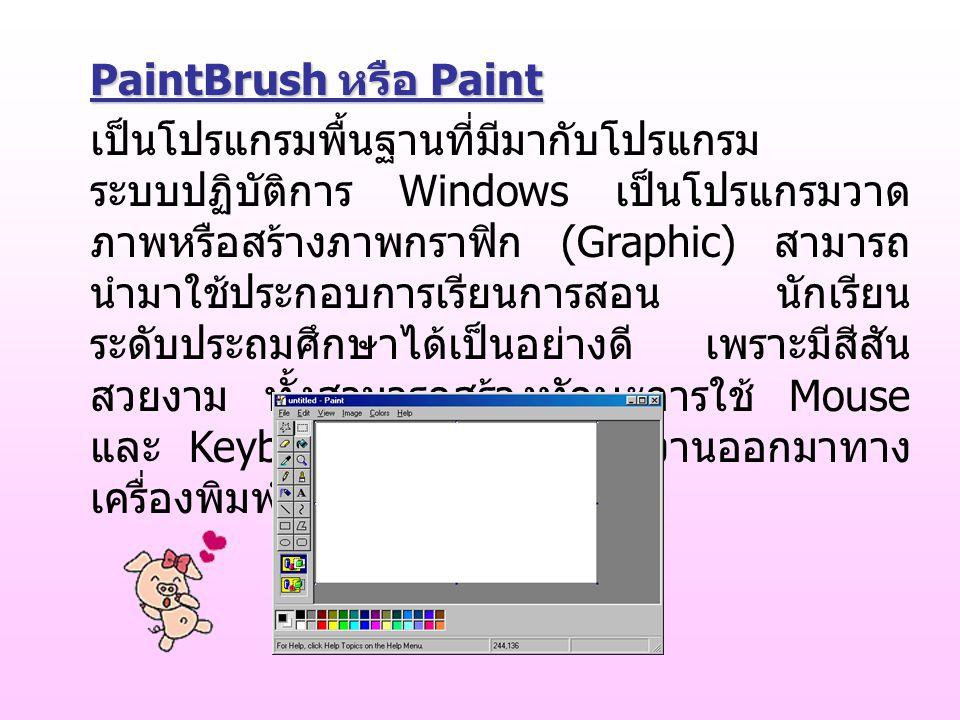 PaintBrush หรือ Paint เป็นโปรแกรมพื้นฐานที่มีมากับโปรแกรม ระบบปฏิบัติการ Windows เป็นโปรแกรมวาด ภาพหรือสร้างภาพกราฟิก (Graphic) สามารถ นำมาใช้ประกอบการเรียนการสอน นักเรียน ระดับประถมศึกษาได้เป็นอย่างดี เพราะมีสีสัน สวยงาม ทั้งสามารถสร้างทักษะการใช้ Mouse และ Keyboard และยังพิมพ์ผลงานออกมาทาง เครื่องพิมพ์ (Printer) ได้อีกด้วย