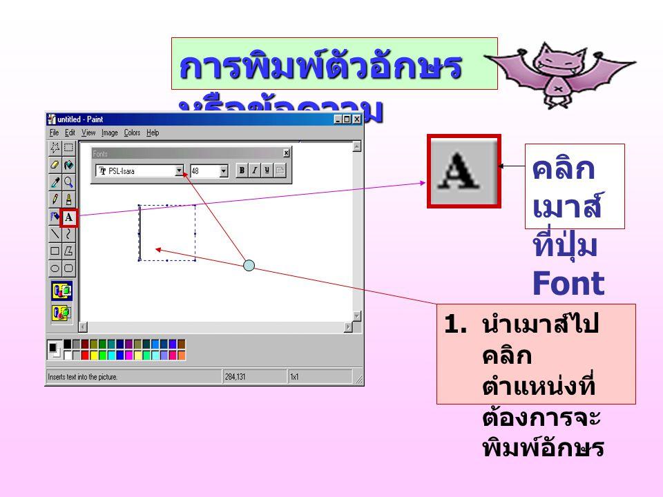 การพิมพ์ตัวอักษร หรือข้อความ คลิก เมาส์ ที่ปุ่ม Font 1.
