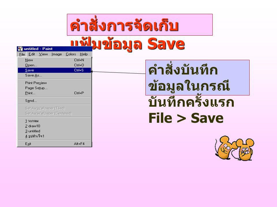 คำสั่งการจัดเก็บ แฟ้มข้อมูล Save คำสั่งบันทึก ข้อมูลในกรณี บันทึกครั้งแรก File > Save