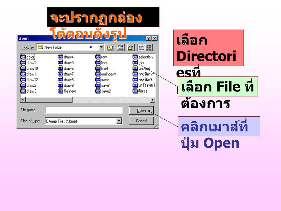 เลือก Directori es ที่ ต้องการ เลือก File ที่ ต้องการ คลิกเมาส์ที่ ปุ่ม Open จะปรากฏกล่อง โต้ตอบดังรูป