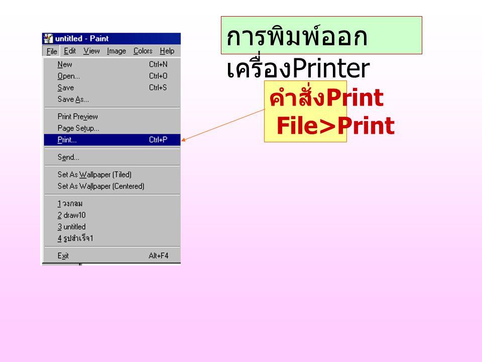 คำสั่ง Print File>Print การพิมพ์ออก เครื่อง Printer