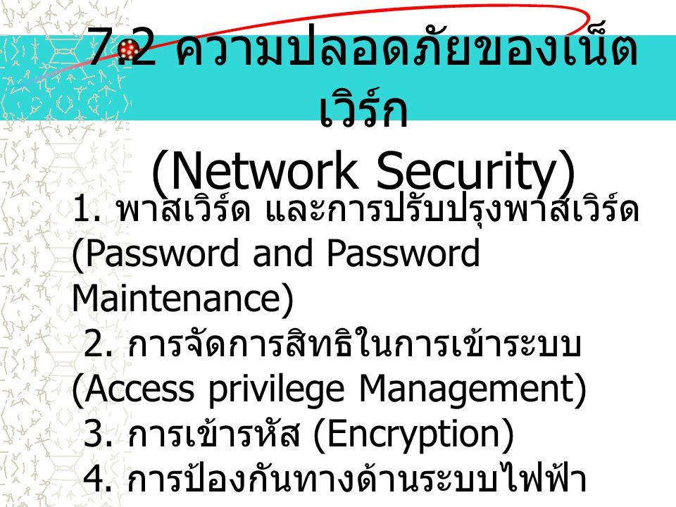 7.2 ความปลอดภัยของเน็ต เวิร์ก (Network Security) 1. พาสเวิร์ด และการปรับปรุงพาสเวิร์ด (Password and Password Maintenance) 2. การจัดการสิทธิในการเข้าระ