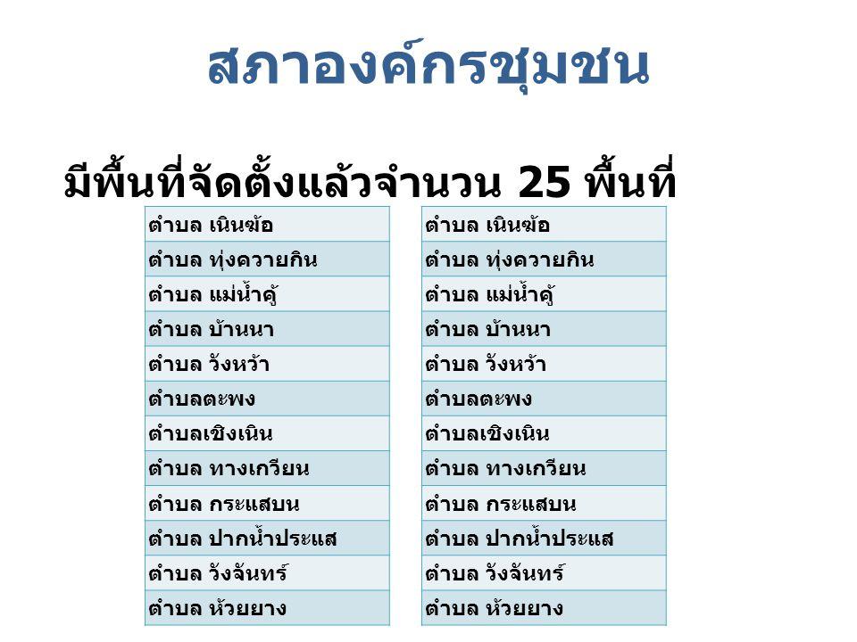 สภาองค์กรชุมชน มีพื้นที่จัดตั้งแล้วจำนวน 25 พื้นที่ ตำบล เนินฆ้อ ตำบล ทุ่งควายกิน ตำบล แม่น้ำคู้ ตำบล บ้านนา ตำบล วังหว้า ตำบลตะพง ตำบลเชิงเนิน ตำบล ท