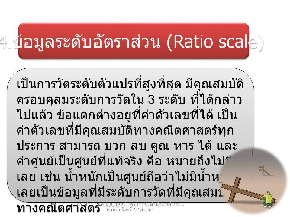 4. ข้อมูลระดับอัตราส่วน (Ratio scale) เป็นการวัดระดับตัวแปรที่สูงที่สุด มีคุณสมบัติ ครอบคุลมระดับการวัดใน 3 ระดับ ที่ได้กล่าว ไปแล้ว ข้อแตกต่างอยู่ที่