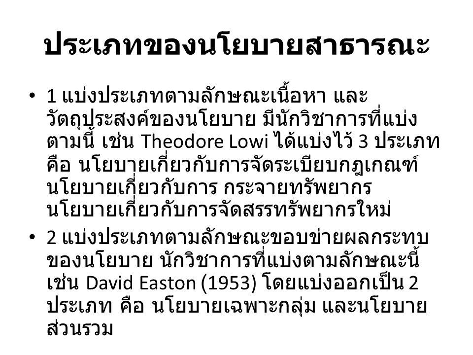 ประเภทของนโยบายสาธารณะ 3 แบ่งประเภทตามลักษณะกระบวนการของ นโยบายสาธารณะ นักวิชาการที่แบ่งตามลักษณะนี้ เช่น Ira Sharkansky (1970) แบ่งไว้ 3 ประเภท ขั้น นโยบายสาธารณะ ขั้นผลผลิตของนโยบาย สาธารณะ และขั้นผลกระทบของนโยบาย 4 แบ่งประเภทตามลักษณะกิจกรรม หรือภารกิจ สำคัญของรัฐบาล นักวิชาการที่แบ่งตามลักษณะนี้ เช่น Thomas Dye (1978) แบ่งตามภารกิจของ สหรัฐอเมริกา ไว้ 12 ประเภท มีนโยบายป้องกัน ประเทศ นโยบายต่างประเทศ นโยบายการศึกษา นโยบายสวัสดิการ นโยบายการรักษาความสงบ ภายใน นโยบายทางหลวง นโยบายภาษีอากร นโยบายการเคหะ นโยบายประกันสังคม นโยบาย สาธารณะสุข นโยบายพัฒนาชุมชน / ตัวเมือง และ นโยบายทางเศรษฐกิจ