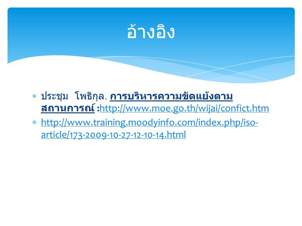  ประชุม โพธิกุล. การบริหารความขัดแย้งตาม สถานการณ์ :http://www.moe.go.th/wijai/confict.htmhttp://www.moe.go.th/wijai/confict.htm  http://www.trainin