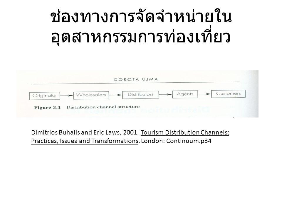 ช่องทางการจัดจำหน่ายใน อุตสาหกรรมการท่องเที่ยว Dimitrios Buhalis and Eric Laws, 2001. Tourism Distribution Channels: Practices, Issues and Transformat