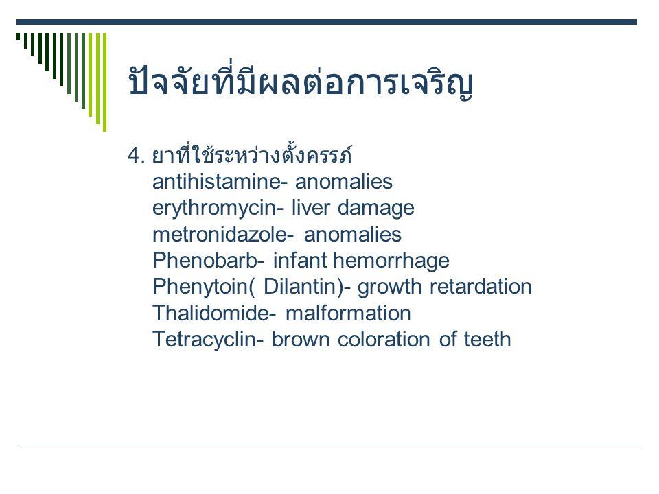 ปัจจัยที่มีผลต่อการเจริญ 4. ยาที่ใช้ระหว่างตั้งครรภ์ antihistamine- anomalies erythromycin- liver damage metronidazole- anomalies Phenobarb- infant he