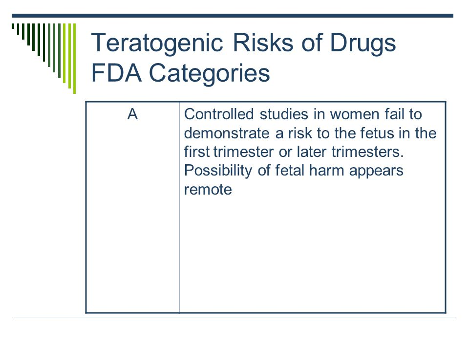 Teratogenic Risks of Drugs FDA Categories AControlled studies in women fail to demonstrate a risk to the fetus in the first trimester or later trimest