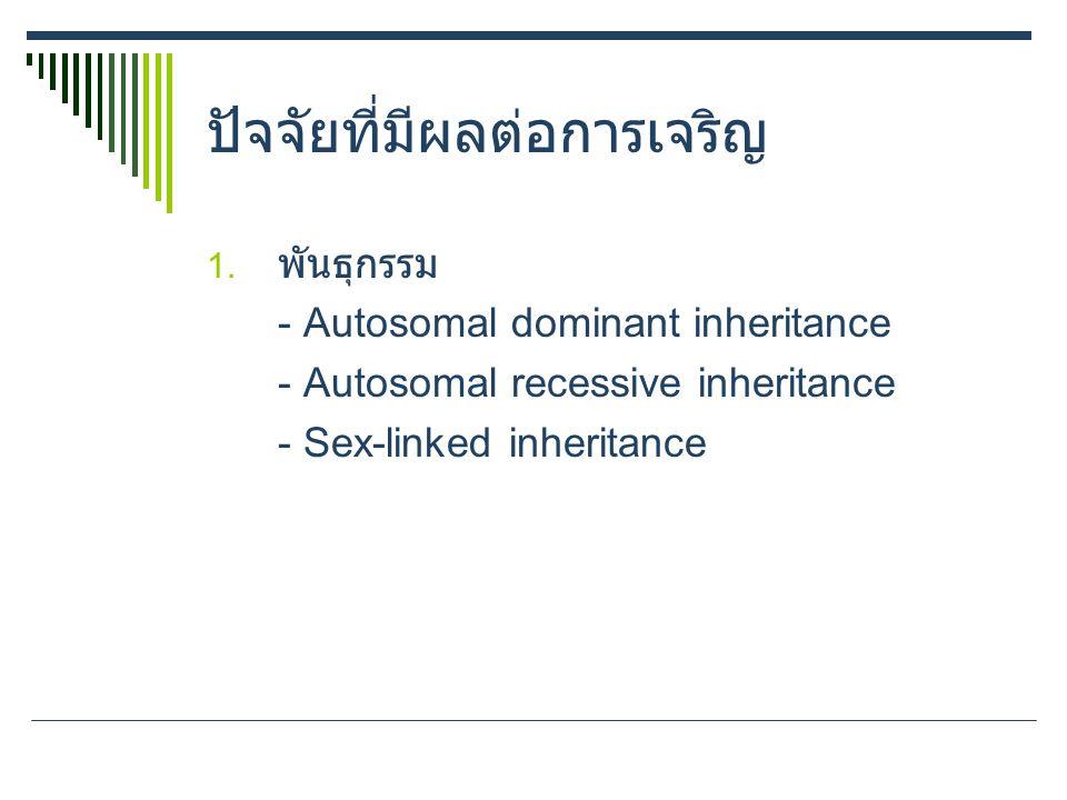 ปัจจัยที่มีผลต่อการเจริญ 1. พันธุกรรม - Autosomal dominant inheritance - Autosomal recessive inheritance - Sex-linked inheritance