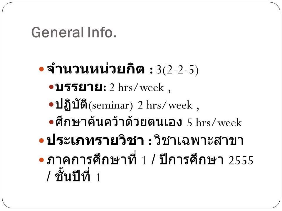 General Info. จำนวนหน่วยกิต : 3(2-2-5) บรรยาย : 2 hrs/week, ปฏิบัติ (seminar) 2 hrs/week, ศึกษาค้นคว้าด้วยตนเอง 5 hrs/week ประเภทรายวิชา : วิชาเฉพาะสา