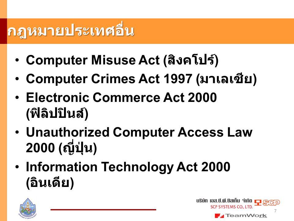 การดักข้อมูลคอมพิวเตอร์โดยมิชอบ มาตรา 8 ผู้ใดกระทำด้วยประการใดโดยมิ ชอบด้วยวิธีการทางอิเล็กทรอนิกส์เพื่อดัก รับไว้ซึ่งข้อมูลคอมพิวเตอร์ของผู้อื่นที่อยู่ ระหว่างการส่งในระบบคอมพิวเตอร์ และ ข้อมูลคอมพิวเตอร์นั้นมิได้มีไว้เพื่อ ประโยชน์สาธารณะหรือเพื่อให้บุคคลทั่วไป ใช้ประโยชน์ได้ต้องระวางโทษจำคุกไม่เกิน สามปี หรือปรับไม่เกินหกหมื่นบาท หรือทั้ง จำทั้งปรับ 18