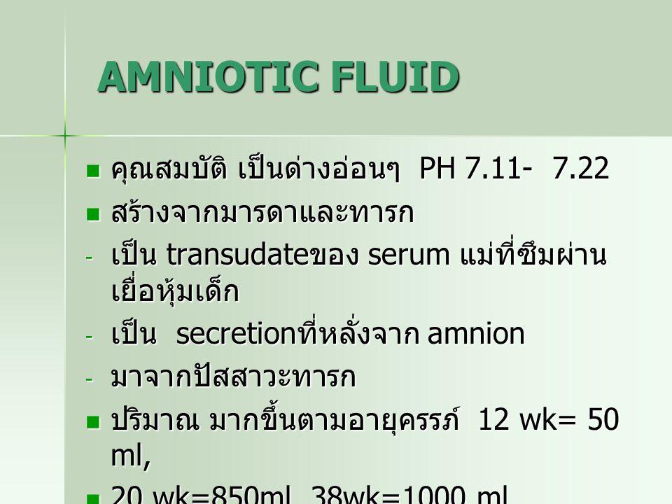 AMNIOTIC FLUID AMNIOTIC FLUID คุณสมบัติ เป็นด่างอ่อนๆ PH 7.11- 7.22 คุณสมบัติ เป็นด่างอ่อนๆ PH 7.11- 7.22 สร้างจากมารดาและทารก สร้างจากมารดาและทารก -