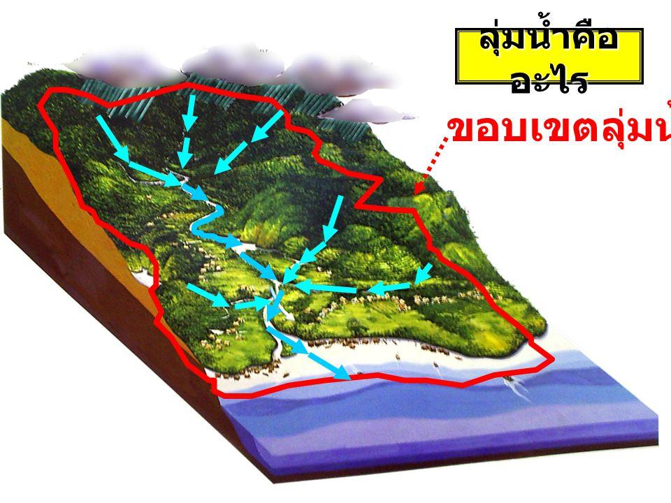 ลุ่มน้ำ (Watershed) พื้นที่ทั้งหมดซึ่งน้ำท่าผิวดิน (surface runoff) เกิดจาก ฝนที่ตกลงบนพื้นที่นี้ จะไหลลงสู่จุดออก (outlet) พื้นที่ทั้งหมดซึ่งน้ำท่าผิวดิน (surface runoff) เกิดจาก ฝนที่ตกลงบนพื้นที่นี้ จะไหลลงสู่จุดออก (outlet) ลุ่มน้ำของแม่น้ำ ทะเลสาบ หรืออ่างเก็บน้ำใดๆ คือ พื้นที่ ซึ่งเมื่อฝนตกลงมาแล้ว น้ำจะไหลรวมกันลงสู่แม่น้ำ ทะเลสาบ หรืออ่างเก็บน้ำ นั้นๆ สันปันน้ำ (drainage divide) สันปันน้ำ (drainage divide) เส้นที่มีความชัดเจนทางด้าน ภูมิศาสตร์ ซึ่งแบ่งการระบายน้ำของ พื้นที่ จุดออก (Outlet) จุดออก (Outlet) ตำแหน่งบนเส้นทางการไหล ซึ่งเป็นจุดรวมการระบายน้ำ ของพื้นที่