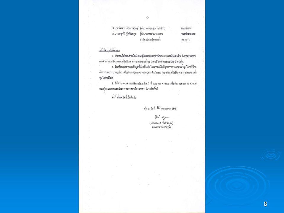 9 โครงการแก้ไขปัญหาการขาด แคลนน้ำอุปโภคบริโภค ( โครงการน้ำกินน้ำใช้ทั่วไทย ) ระยะที่ 1 (16 จังหวัดนำร่อง ) ข้อมูล ณ วันที่ 21 กรกฎาคม 2549