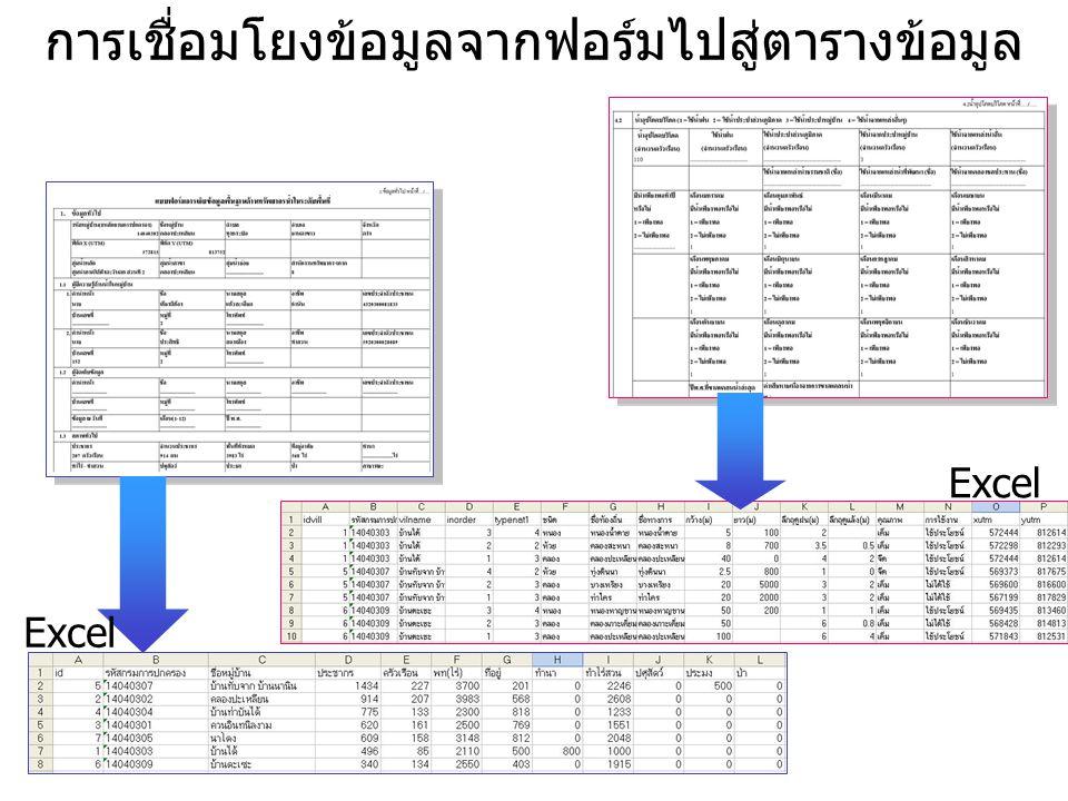 การเชื่อมโยงข้อมูลจากตารางข้อมูลไปสู่ฐานข้อมูล Excel Access