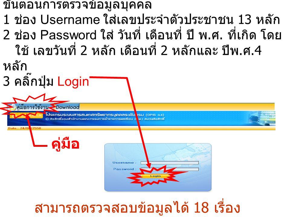 ขั้นตอนการตรวจข้อมูลบุคคล 1 ช่อง Username ใส่เลขประจำตัวประชาชน 13 หลัก 2 ช่อง Password ใส่ วันที่ เดือนที่ ปี พ. ศ. ที่เกิด โดย ใช้ เลขวันที่ 2 หลัก