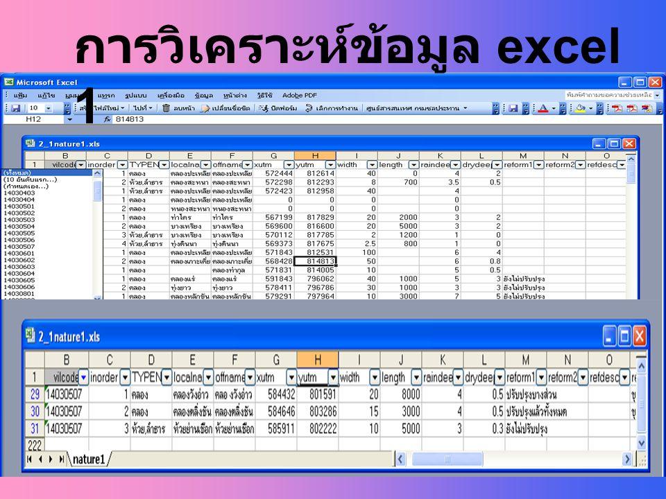 การวิเคราะห์ข้อมูล excel 1