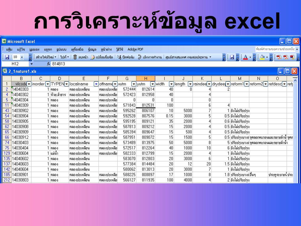 การวิเคราะห์ข้อมูล excel 3