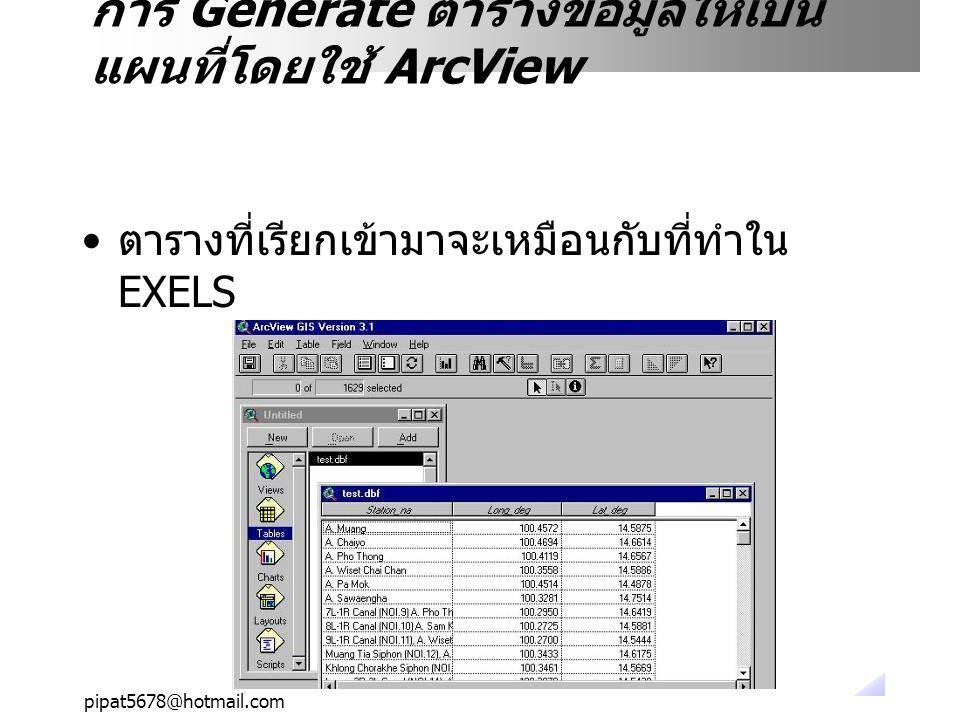 pipat5678@hotmail.com ตารางที่เรียกเข้ามาจะเหมือนกับที่ทำใน EXELS การ Generate ตารางข้อมูลให้เป็น แผนที่โดยใช้ ArcView
