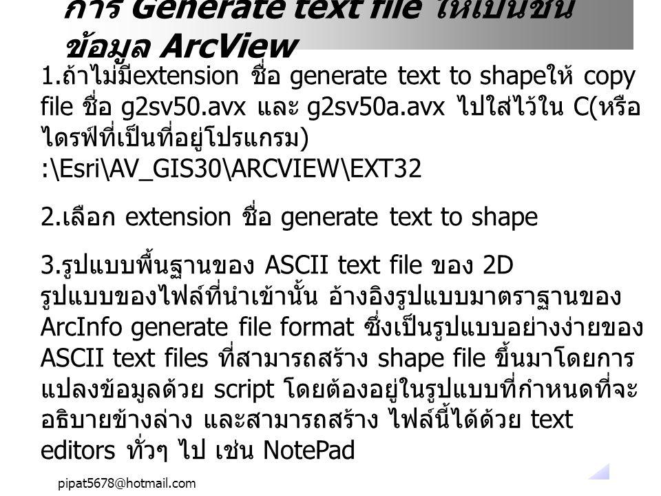 pipat5678@hotmail.com 1.ถ้าไม่มีextension ชื่อ generate text to shapeให้ copy file ชื่อ g2sv50.avx และ g2sv50a.avx ไปใส่ไว้ใน C(หรือ ไดรฟ์ที่เป็นที่อย