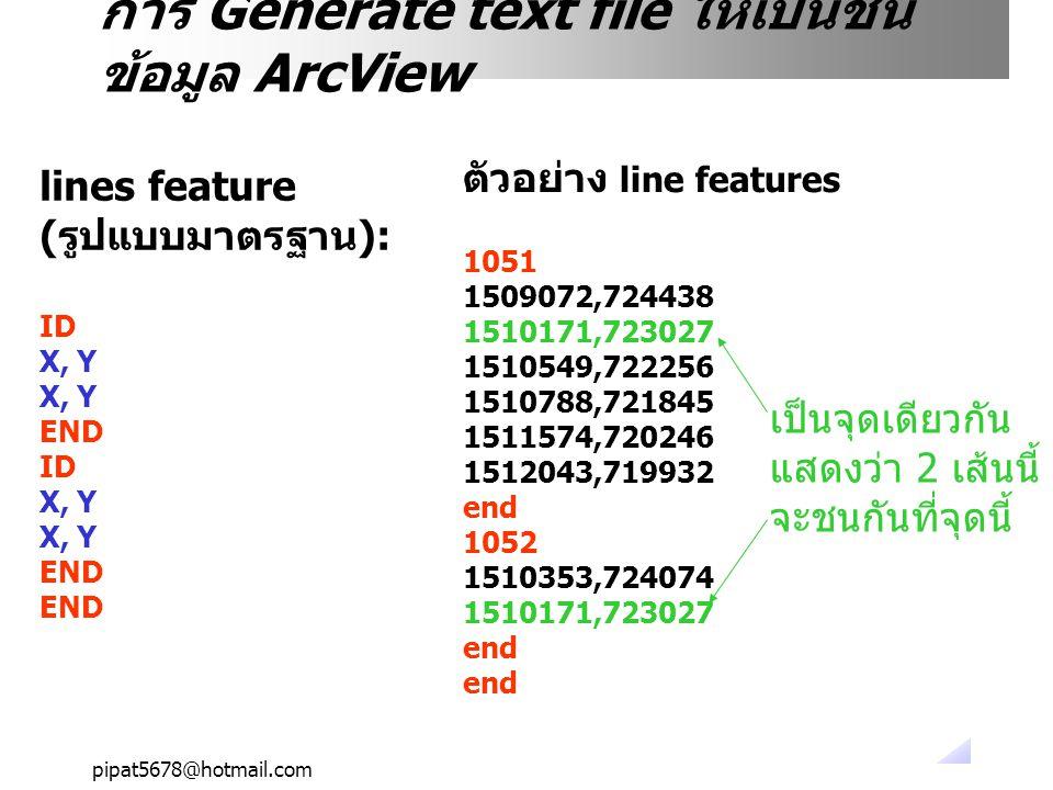 pipat5678@hotmail.com การ Generate text file ให้เป็นชั้น ข้อมูล ArcView lines feature (รูปแบบมาตรฐาน): ID X, Y END ID X, Y END ตัวอย่าง line features