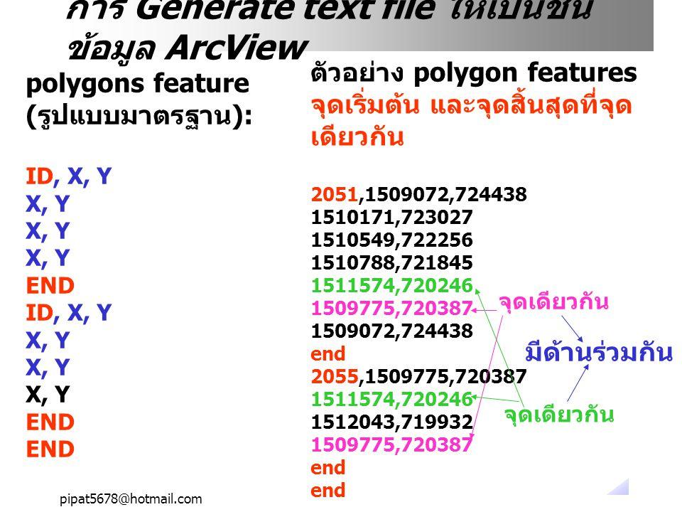 pipat5678@hotmail.com การ Generate text file ให้เป็นชั้น ข้อมูล ArcView polygons feature (รูปแบบมาตรฐาน): ID, X, Y X, Y END ID, X, Y X, Y END ตัวอย่าง